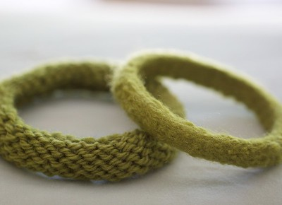 knitted felted bangles