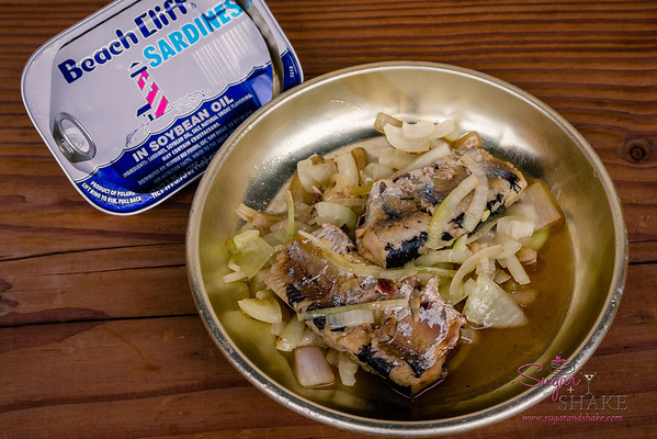 "Sardines and Onions. ""Now"" Pairing: Pan-Roasted Kampachi. © 2014 Sugar + Shake"