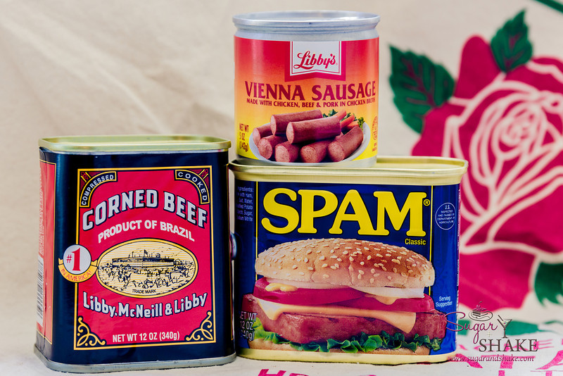 Hawai'i's Holy Trinity of Canned Meats: Corned beef, Vienna sausage and SPAM®. © 2014 Sugar + Shake