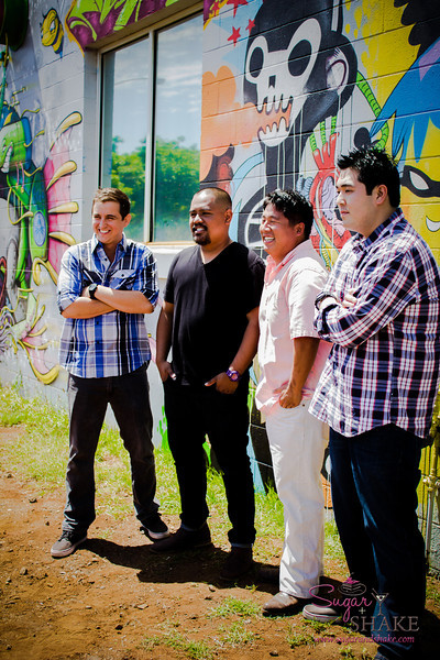 """22 Things: Nos. 2 & 3 (Chefs & Bartenders)"" photo shoot for HAWAI'I Magazine — Quinten Frye, Sheldon Simeon, Mark ""Gooch"" Noguchi & Chris Kajioka. © 2013 Sugar + Shake"