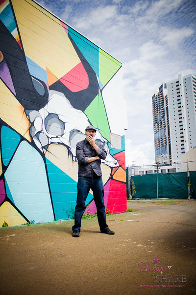 """22 Things: Nos. 2 & 3 (Chefs & Bartenders)"" photo shoot for HAWAI'I Magazine — Dave Power of The Feral Pig in front of Kaka'ako Pow Wow Hawai'i mural painted by Justin Park. © 2013 Sugar + Shake"