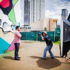 """22 Things: Nos. 2 & 3 (Chefs & Bartenders)"" photo shoot for HAWAI'I Magazine — Justin Park of The Manifest gets his closeup by photographer David Croxford. Mural painted by Justin. © 2013 Sugar + Shake"