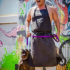 """22 Things: Nos. 2 & 3 (Chefs & Bartenders)"" photo shoot for HAWAI'I Magazine — Chef Mark ""Gooch"" Noguchi of Taste Table / Pili Hawai'i with his dog, Anuhea. © 2013 Sugar + Shake"
