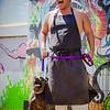 """22 Things: Nos. 2 & 3 (Chefs & Bartenders)"" photo shoot for HAWAI'I Magazine — Chef Mark ""Gooch"" Noguchi of Taste Table / Pili Hawai'i with his dog, Anuhea. © 2013 Sugar + Shake"