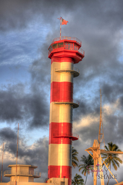 The original Ford Island Control Tower. It was only about 80% complete when Japan bombed Pearl Harbor; at that time, the control room at the top wasn't done. The tower's been in disrepair for a long time, but they're slowly fixing it up. © Sugar + Shake