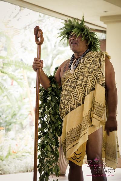 Ritz-Carlton Kapalua Cultural Director Clifford Nae'ole at the Wehe Ka Ipuka (Open the Doorway) ceremony to begin Celebration of the Arts 2014. © 2015 Sugar + Shake