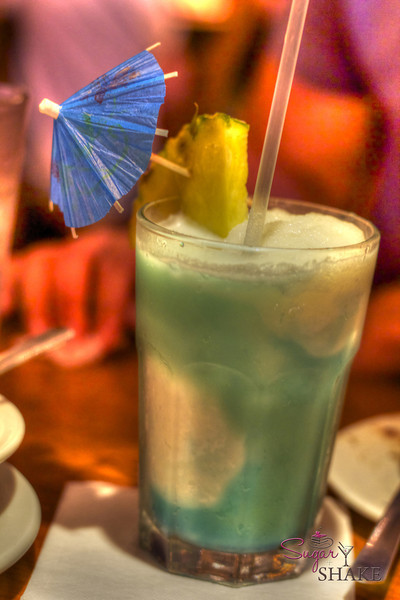 Blue Hawaii at La Mariana. Not sure what the white stuff is. I got distracted by my own drink and forgot to ask. © Sugar + Shake