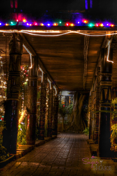 Walkway to the La Mariana bar. The Christmas lights are a permanent fixture. © Sugar + Shake