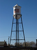 The patriotic water tower in Alamosa.