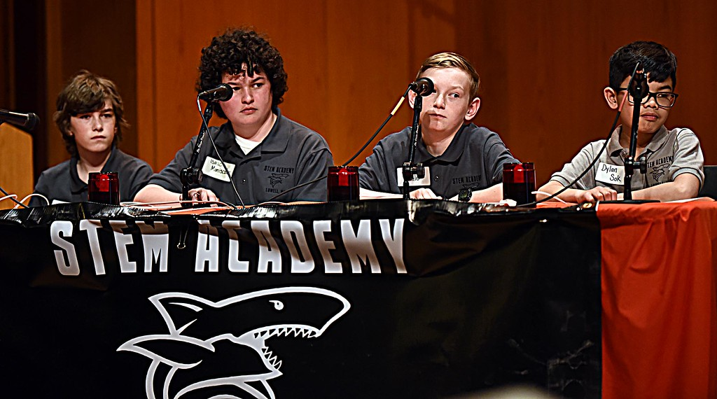 . Students from the Stem Academy during th last rounds of the Knowledge Bowl, L-R, Dylan Sok, Samuel Little, Isaac Maniscalco and Jackson Little, the school came in 3nd place. SUN/ David H. Brow.