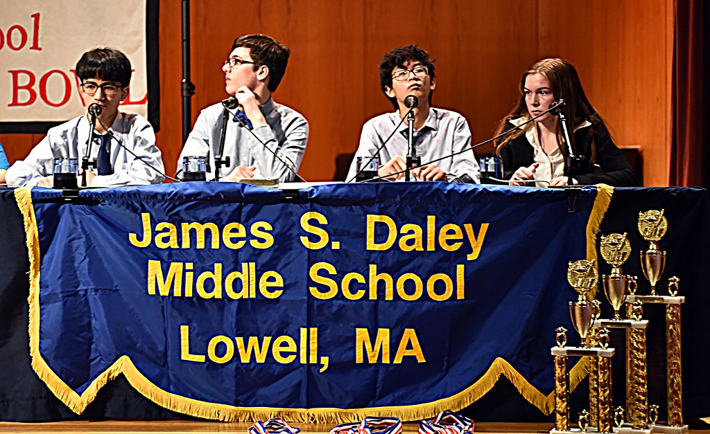 . Daley MS students during the final rounds of the Knowledge Bowl at the Butler School, L-R, Dominic Chan, Douglas Forsythe Yutt Kho and Gabby Rudy. SUN/ David H. Brow