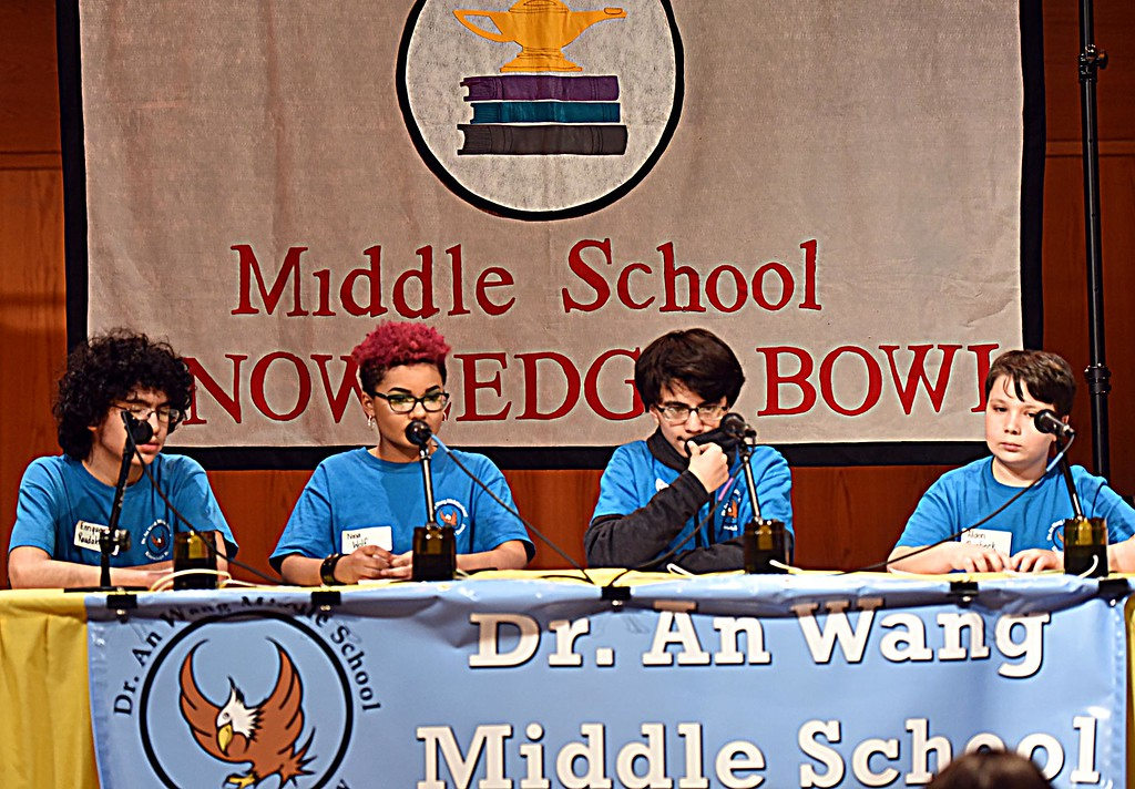 . Wang MS students in one of the final rounds of the Knowledge Bowl, L-R, Enrique Raudales, Nina Wolf, Kiran Maharjan and Alden Raisbeck. SUN/ David H. Brow