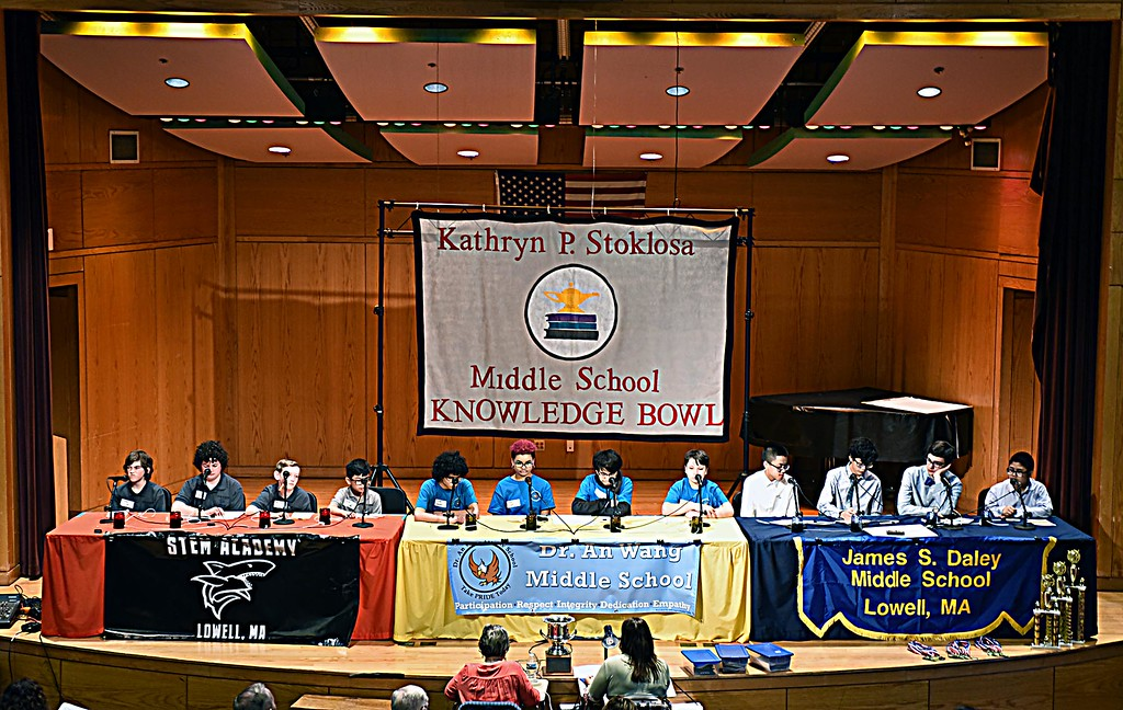 . Middle School students from the Stem Academy, Dr. An Wang and Daley Schools during rounds in the Kathryn Philbin Stoklosa Middle School Knowledge Bowl at the Butler Middle School. SUN/ David H. Brow