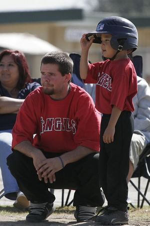#03 Anthony Quirarte and Coach Andrew Cooper at 3rd base, Angels vs. Tigers, 2005 Ocean View Pony Baseball, Shetland Division