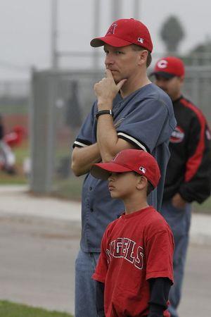 #10 Calvin Nazman and Coach Pat Kane, Angels vs. Royals, 2005 Ocean View Pony Baseball, Shetland Division