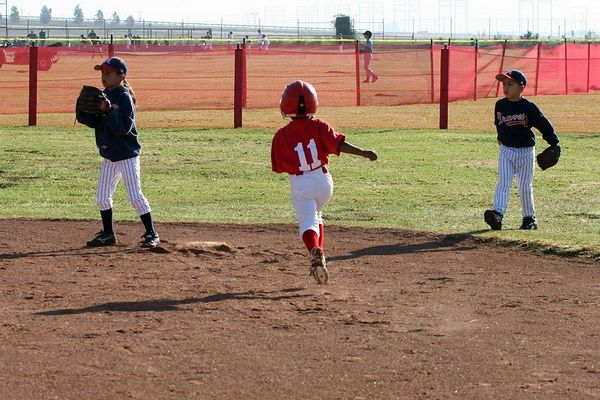 #03 Evelyn Loyola and #04 Michael Barker, Braves vs. Cardinals, 2005 Ocean View Pony Baseball, Pinto Division