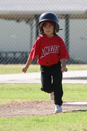 #04 Breanna Loyola on her way to 3rd base, Tigers vs. Angels, 2005 Ocean View Pony Baseball, Shetland Division