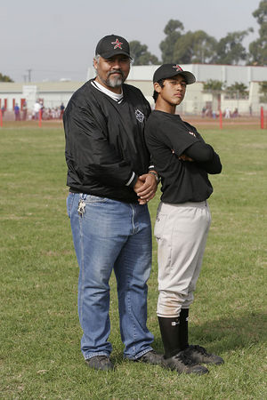 Coach Bart Lujan and #11 J.J. Lujan, Astros, 2005 Ocean View Pony Baseball, Pony Division