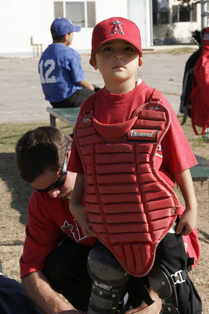 #03 Anthony Quirarte and Coach Cooper, Angels vs. Royals, 2005 Ocean View Pony Baseball, Shetland Division
