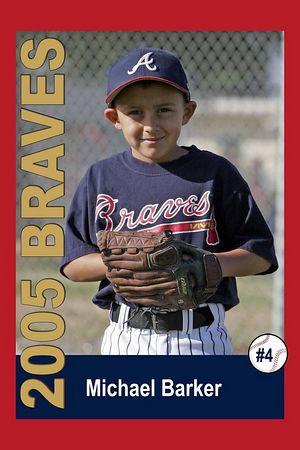 #04 Michael Barker, Braves, 2005 Ocean View Pony Baseball, Pinto Division