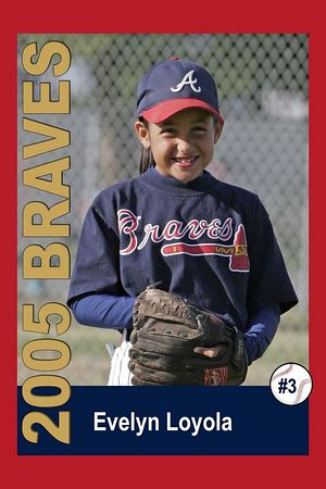 #03 Evelyn Loyola, Braves, 2005 Ocean View Pony Baseball, Pinto Division