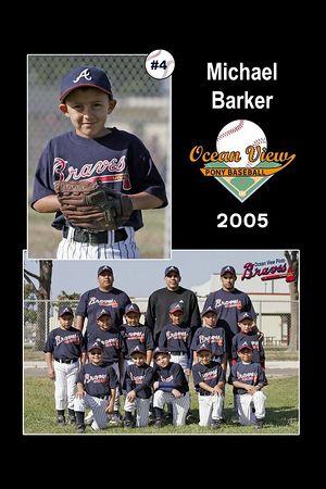 #04 Michael Barker, Braves, Pinto Division, 2005 Ocean View Pony Baseball