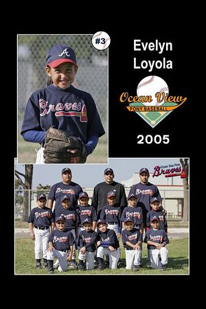 #03 Evelyn Loyola, Braves, Pinto Division, 2005 Ocean View Pony Baseball