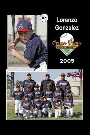 #07 Lorenzo Gonzalez, Braves, Pinto Division, 2005 Ocean View Pony Baseball