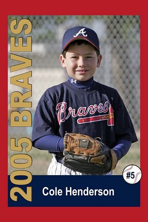 #05 Cole Henderson, Braves, 2005 Ocean View Pony Baseball, Pinto Division