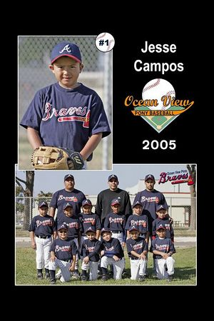 #01 Jesse Campos, Braves, Pinto Division, 2005 Ocean View Pony Baseball