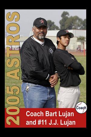 Coach Bart Lujan and #11 J.J. Lujan, Astros, 2005 Ocean View Pony Baseball, Pony Division