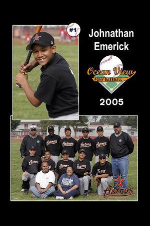 #01 Johnathan Emerick, Astros, 2005 Ocean View Pony Baseball, Pony Division