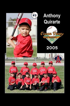 #03 Anthony Quirarte, Ocean View Pony Baseball, 2005 Shetland Angels