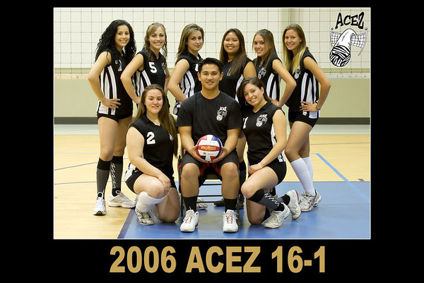 2006 ACEZ 16-1 Team Photo. #02 Heather Davis, #05 Lizzy Burdick, #07 Heather Stevens, #11 Raeana Reed, #13 Leizl Pao, Coach Arnold Elan.