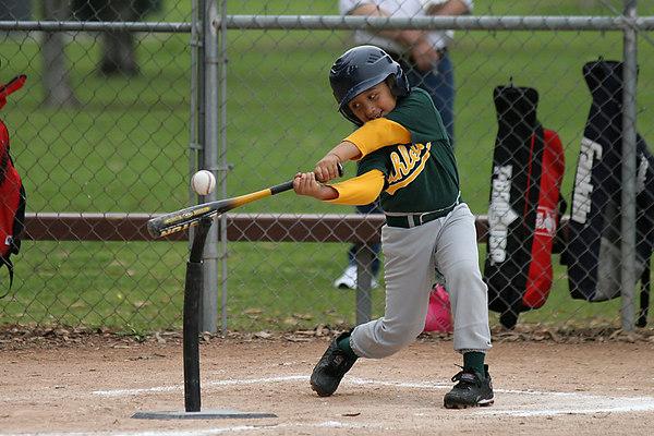 #09 Adrian Pena at bat. Athletics vs. Yankees, 2006 North Side Little League Baseball, Tee Ball Division