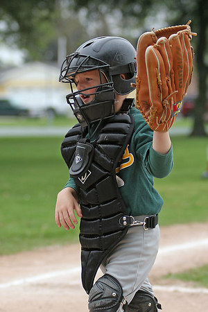 #05 Christopher Kane at catcher's position using his dad's glove. Athletics vs. Yankees, 2006 North Side Little League Baseball, Tee Ball Division