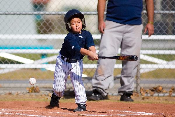 #12 Moses Sixtos at bat. Pinto North Side Yankees vs. Angels, 2006 Ocean View Pony Baseball, Pinto Division.