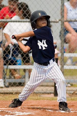 #08 Gabriel Baldovino at bat. Pinto North Side Yankees vs. Angels, 2006 Ocean View Pony Baseball, Pinto Division.