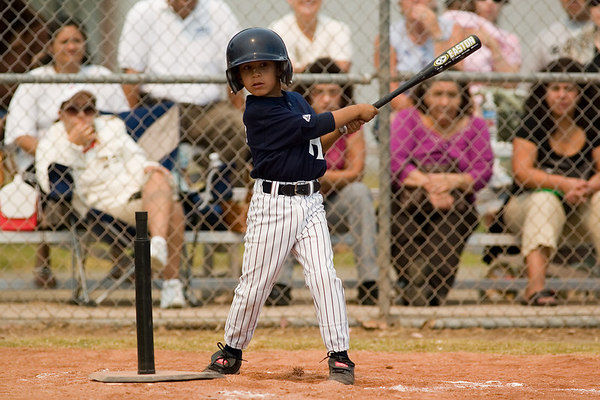 #18 Dustin Sanchez at bat. Pinto North Side Yankees vs. Angels, 2006 Ocean View Pony Baseball, Pinto Division.