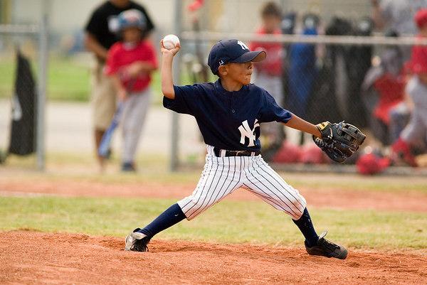 #03 J.J. Zaragoza pitching the ball. Pinto North Side Yankees vs. Angels, 2006 Ocean View Pony Baseball, Pinto Division.
