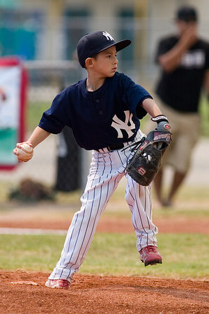 #05 Nick Arroyo pitching. Pinto North Side Yankees vs. Angels, 2006 Ocean View Pony Baseball, Pinto Division.