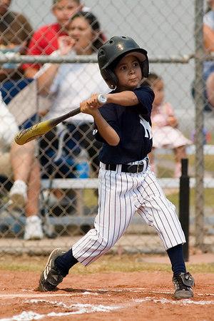 #02 Anthony Cortez at bat. Pinto North Side Yankees vs. Angels, 2006 Ocean View Pony Baseball, Pinto Division.