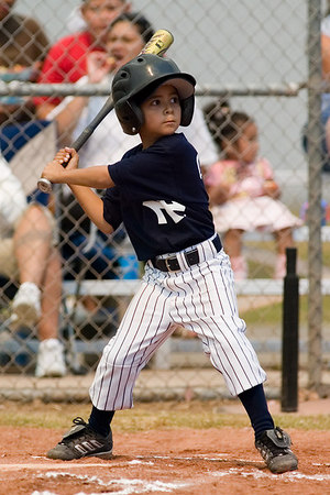#02 Anthony Cortez at bat. Pinto North Side Yankees vs. Angels, 2006 Ocean View Pony Baseball, Pinto Division.