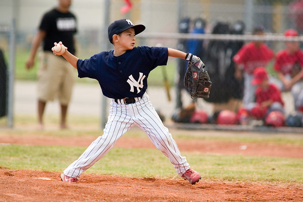 #05 Nick Arroyo pitching the ball. Pinto North Side Yankees vs. Angels, 2006 Ocean View Pony Baseball, Pinto Division.