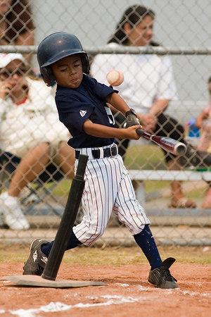 #03 J.J. Zaragoza at bat. Pinto North Side Yankees vs. Angels, 2006 Ocean View Pony Baseball, Pinto Division.