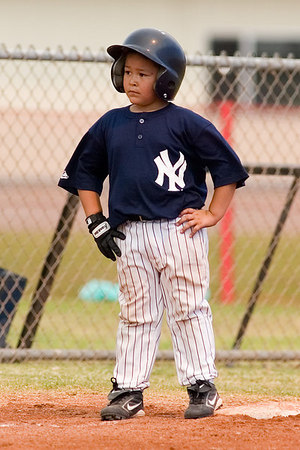 #12 Moses Sixtos on 3rd base. Pinto North Side Yankees vs. Angels, 2006 Ocean View Pony Baseball, Pinto Division.