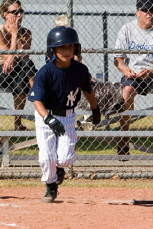 #09 Jason Herrera running to 1st base after hitting the ball. Pinto North Side Yankees vs. Tigers, 2006 Ocean View Pony Baseball, Pinto Division.
