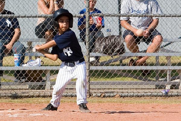 #08 Gabriel Baldovino at bat. Pinto North Side Yankees vs. Tigers, 2006 Ocean View Pony Baseball, Pinto Division.