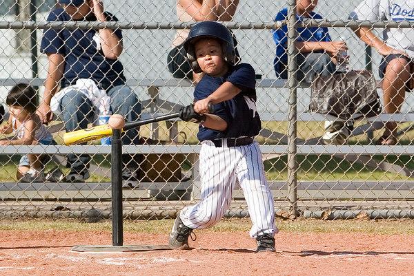 #12 Moses Sixtos at bat. Pinto North Side Yankees vs. Tigers, 2006 Ocean View Pony Baseball, Pinto Division.