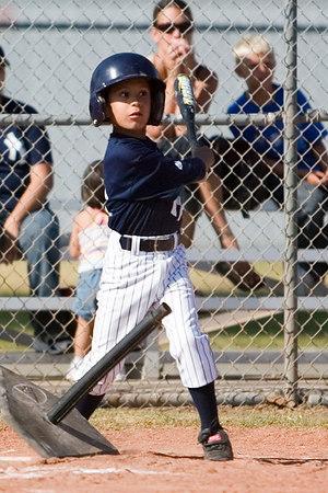 #18 Dustin Sanchez at bat. Pinto North Side Yankees vs. Tigers, 2006 Ocean View Pony Baseball, Pinto Division.